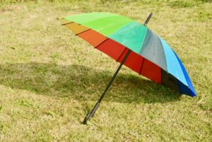 芝生の上のビニール傘